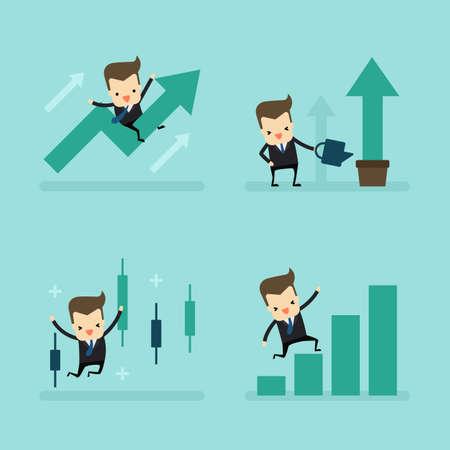 set of businessman growth in business concept vector Ilustração