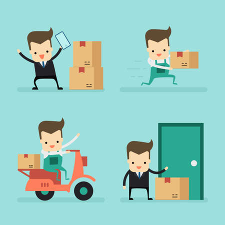 set of businessman and massenger in delivery concept vector