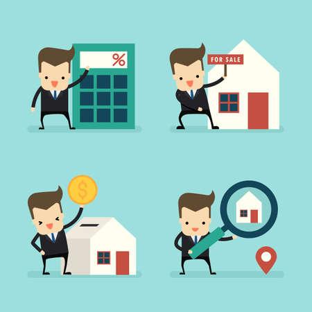 set of businessman in home loans and sale concept vector Ilustração