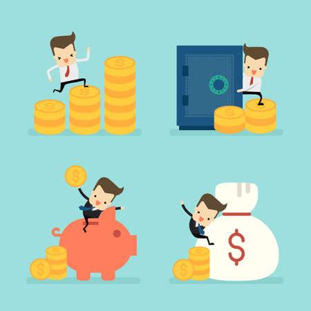 set of businessman in saving money concept vector Ilustração