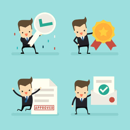 set of businessman in approved concept vector