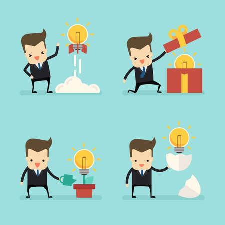 set of businessman with idea light bulb vector