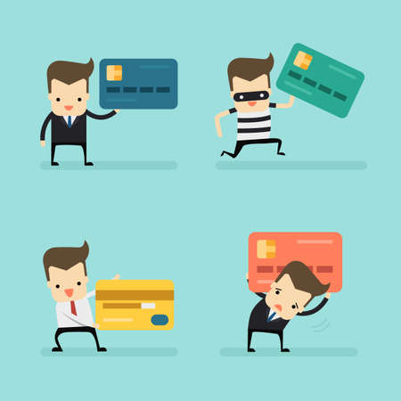 set of businessman with credit card vector