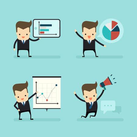 set of businessman in presentation concept vector