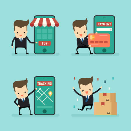 set of businessman in online shopping concept vector