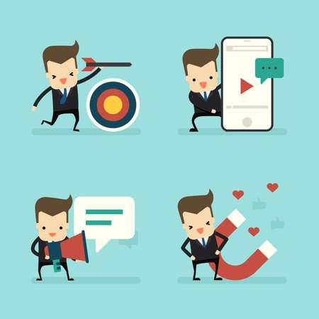 set of businessman in marketing concept vector Ilustração