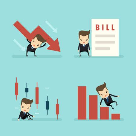 set of businessman loss in business concept vector Ilustração