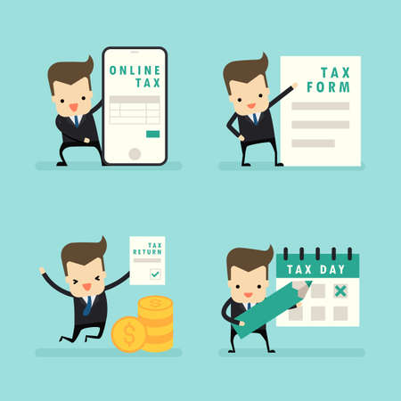 set of businessman in tax concept vector