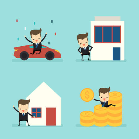 set of businessman with asset vector