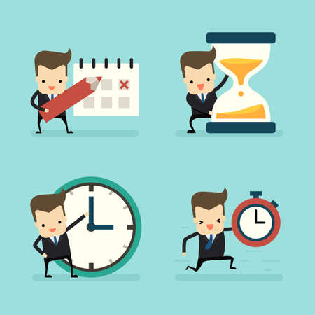 set of businessman in time and clock concept vector
