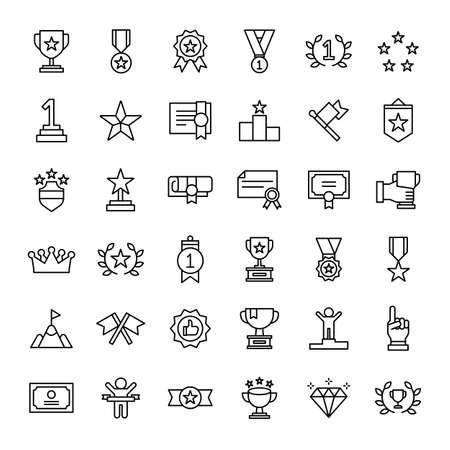 winner prize 36 outline icons vector Ilustração