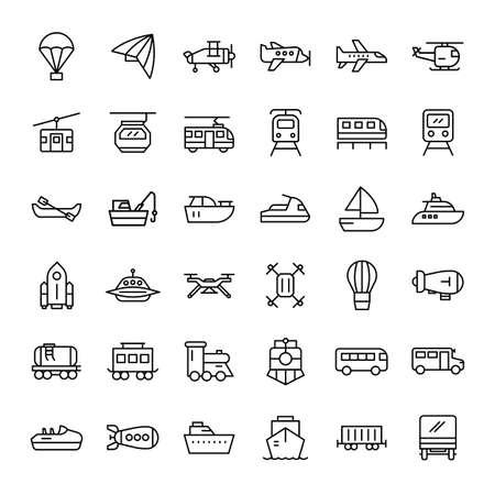 airplane, ship and transportation 36 outline icons vector Ilustração