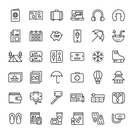 travel and vacation 36 outline icon vector