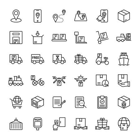 parcel and delivery service 36 outline icons vector Banco de Imagens - 152697717