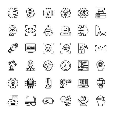artificial intelligence and robot technology 36 outline icons vector