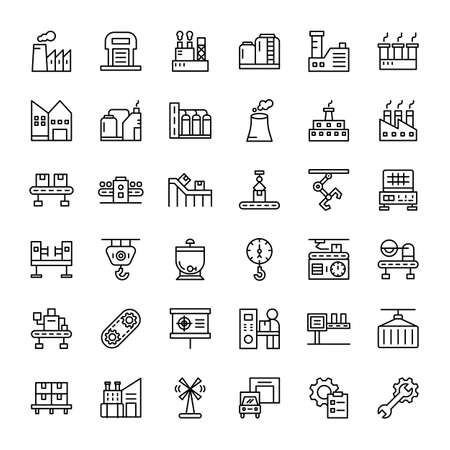 factory and industry 36 outline icons vector Banco de Imagens - 152697722