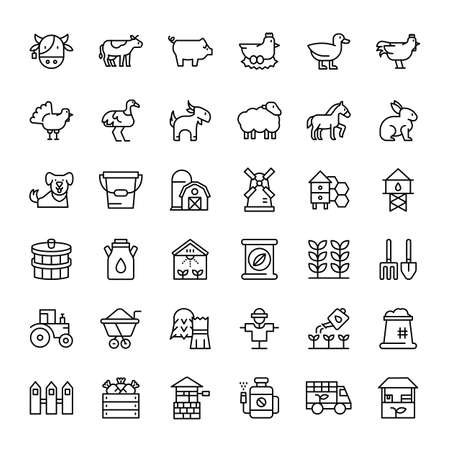 farm and agriculture 36 outline icons vector Banco de Imagens - 152697720