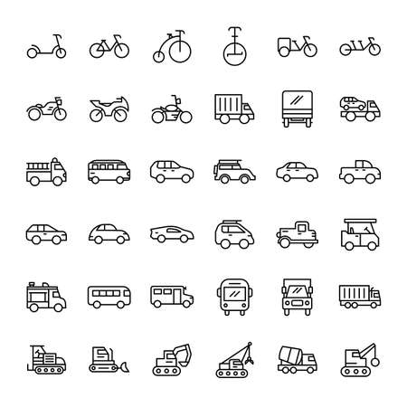 transportation 36 outline icons vector