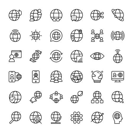 globe 36 outline icons vector