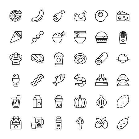 food and beverage 36 line icons vector Ilustração