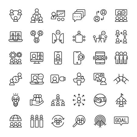teamwork, meeting and conference 36 outline icons vector