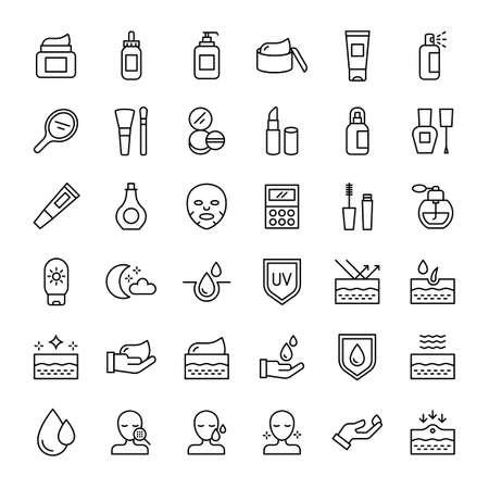cosmetic and skin care 36 outline icons vector