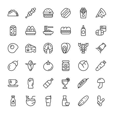 food and beverage 36 outline icons vector Banco de Imagens - 152662804