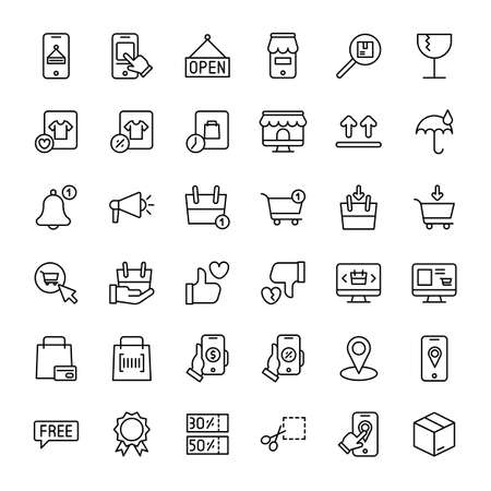 e-commerce and online shopping 36 outline icon vector Banco de Imagens - 152662805