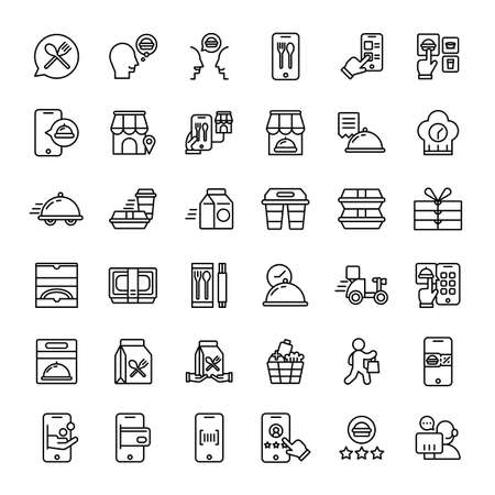 food delivery service 36 outline icons vector