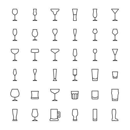 glass and beverage 36 outline icons vector