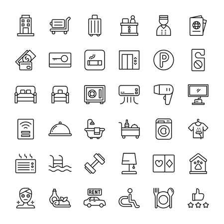 hotel facilities 36 outline icons vector Ilustração