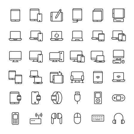device, tablet, notebook and computer 36 outline icons vector Banco de Imagens - 152662811