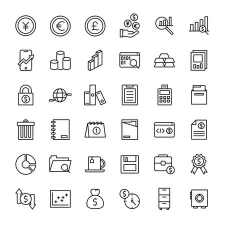 business and web 36 line icon vector