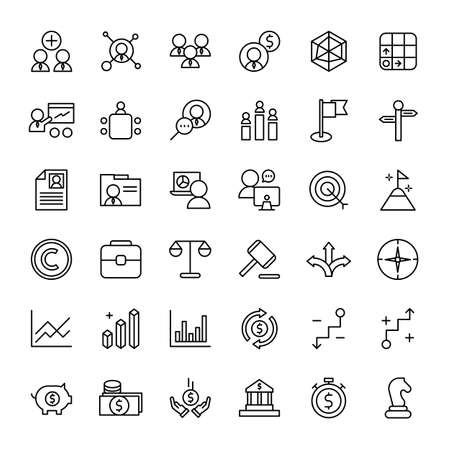 business and web 36 line icons vector
