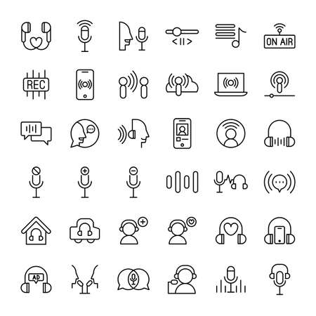 podcast audio and radio 36 outline icons vector Banco de Imagens - 152662815