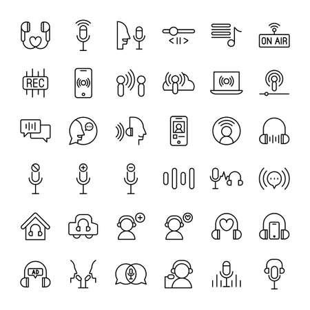 podcast audio and radio 36 outline icons vector Ilustração