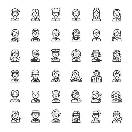 people character 36 outline icons vector Banco de Imagens - 152662817