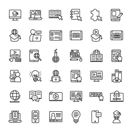 online education 36 outline icons vector