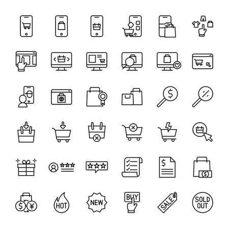 e-commerce and online shopping 36 outline icons vector Banco de Imagens - 152662816