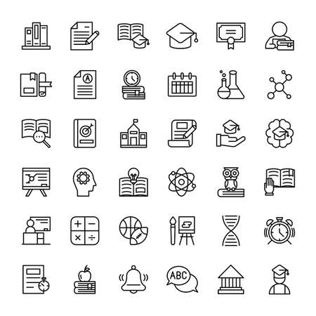 education and school 36 outline icons vector Banco de Imagens - 152662820