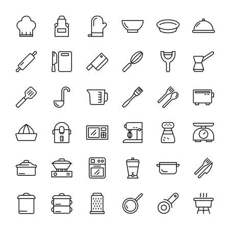 kitchen accessories 36 outline icons vector