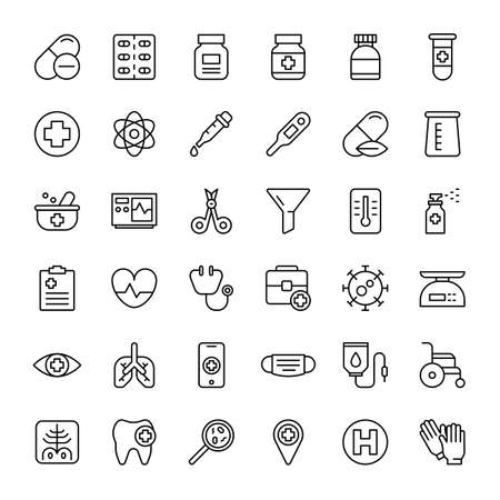 hospital and medical 36 outline icons vector Banco de Imagens - 152662821