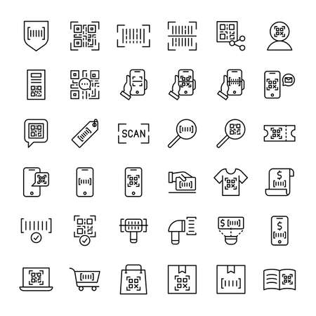 bar code and qr code scaning 36 outline icons vector Banco de Imagens - 152662822