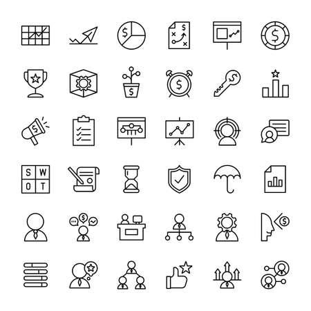 business and web 36 outline icons vector Banco de Imagens - 152663054