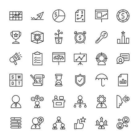 business and web 36 outline icons vector Ilustração