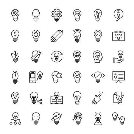 idea light bulb 36 outline icons vector