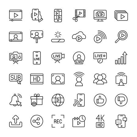 video and live streaming 36 outline icons vector Ilustracja