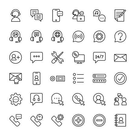 phone and call center 36 outline icons vector Ilustração