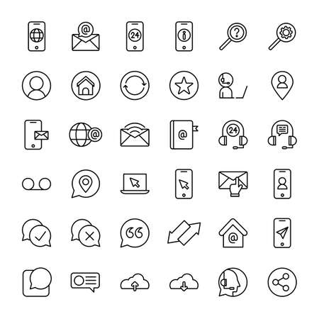 phone and call center 36 line icons vector Banco de Imagens - 152663052