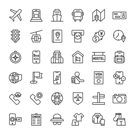 travel and vacation 36 outline icons vector